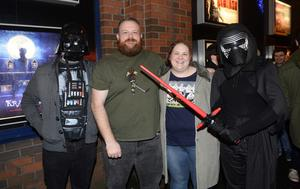 "Pacemaker press 16/12/2015 Hundreds of Star Wars fans queue outside the Movie House on the Dublin road in order to see the latest  film "" The Force Awakens"". Pictured are Gregg Nicholl, Brian and Jen Pacer and Kevin Lenaghan. Picture Mark Marlow/pacemaker press"