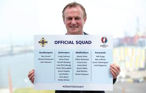 IFA Squad announcement at Titanic Belfast. Northern Ireland manager Michael O'Neill.  Photo by Kelvin Boyes / Press Eye.