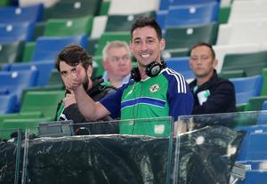 Press Eye Belfast - Northern Ireland 8th October  FIFA 2018 World Cup Qualifier - Northern Ireland Vs San Marino at The National Football Stadium at Windsor Park in Belfast  Northern Ireland fan and presenter Colin Murray   Picture by Jonathan Porter/Press Eye