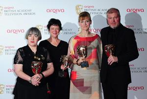 Left to right. Aisling Walsh, Kate Triggs, Amanda Coe and Paul Fried with the Mini-Series Award for Room at the Top, at the 2013 Arqiva British Academy Television Awards at the Royal Festival Hall, London. PRESS ASSOCIATION Photo. Picture date: Sunday May 12, 2013. See PA story SHOWBIZ Bafta. Photo credit should read: Ian West/PA Wire