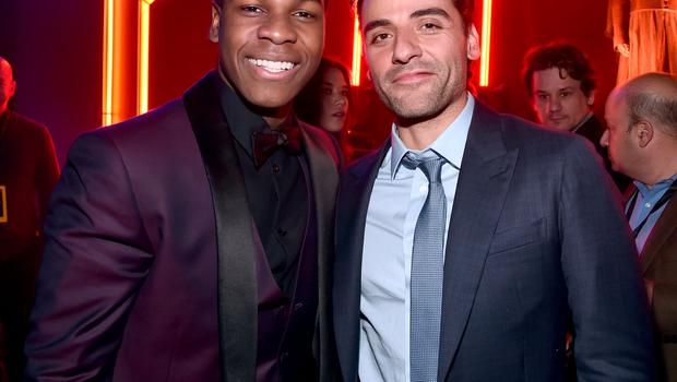HOLLYWOOD, CA - DECEMBER 14: Actors John Boyega (L) and Oscar Isaac attend the after party for the World Premiere of Star Wars: The Force Awakens on Hollywood Blvd on December 14, 2015 in Hollywood, California.  (Photo by Alberto E. Rodriguez/Getty Images for Disney)