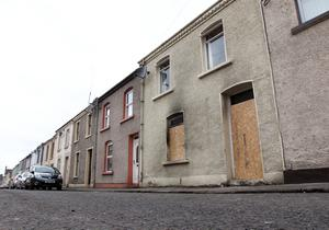 The house in Derry's Waterside where a man was set on fire after two men threw a petrol bomb in through the front window of his home on Friday night