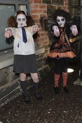 Yolanda Graham and Jenny Sanderson from Templepatrick Halloween spook out at Newtownabbey's Mossley Mill.  Mandatory Credit - Picture by Stephen Hamilton -Presseye.com