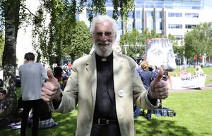 """Pacemaker press 13/6/15 Pictured is Canon Charles Kenny. Thousands of people have attended a march in Belfast, calling for the introduction of civil marriage for same-sex couples in Northern Ireland. The march began at Writer's Square and moved towards Belfast City Hall, where a rally was  held.The organisers said Northern Ireland is """"out on a limb"""" as the only part of the UK and Ireland not to change its laws. The Northern Ireland Assembly has debated the issue four times, and each time MLAs rejected same-sex marriage. Picture Mark marlow/pacemaker press"""