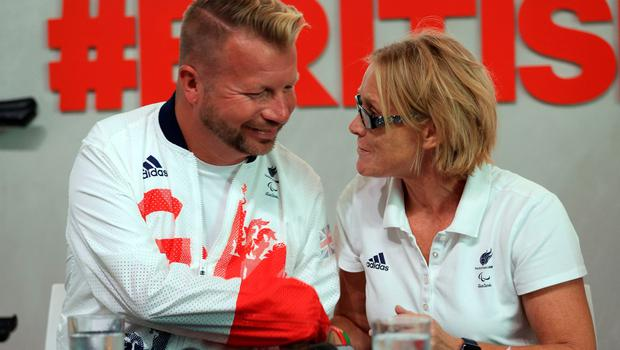 Lee Pearson (left) and Chef de Mission Penny Briscoe during the ParalympicsGB Flagbearer announcement ahead of the 2016 Rio Paralympic Games, Brazil. PRESS ASSOCIATION Photo. Picture date: Tuesday September 6, 2016. Photo credit should read: Adam Davy/PA Wire. EDITORIAL USE ONLY
