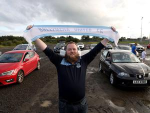 PACEMAKER PRESS BELFAST 31/7/2020 Ballymena United suppporters gathered at a drive-in screening of the match against Glentoran at Ballymena Showgrounds in order to facilitate social distancing.  Pictured Paul Jeffries. Photo Pacemaker Press