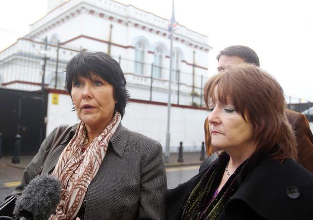 Margaret McGuckin and Kate Walmsey arrive at the inquiry in Banbridge on Monday