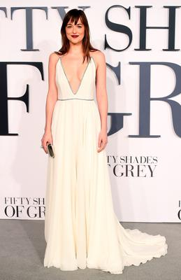 "LONDON, ENGLAND - FEBRUARY 12:  Dakota Johnson attends the UK Premiere of ""Fifty Shades Of Grey"" at Odeon Leicester Square on February 12, 2015 in London, England.  (Photo by Ian Gavan/Getty Images)"