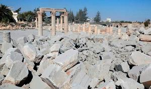Undated photo released Tuesday, Aug. 25, 2015 on a social media site used by Islamic State militants, which has been verified and is consistent with other AP reporting, shows the demolished 2,000-year-old temple of Baalshamin in Syria's ancient caravan city of Palmyra (Isis social media account via AP)