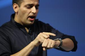 BERLIN, GERMANY - SEPTEMBER 04:  Pranav Mistry of Samsung America presents the new Samsung Galaxy Gear smart watch at the Samsung Unpacked 2013 Episode 2 at Tempodrom on September 4, 2013 in Berlin, Germany. Samsung introduced a total of three new products at the event, on the eve of the IFA 2013 consumer electonics fair.  (Photo by Sean Gallup/Getty Images)