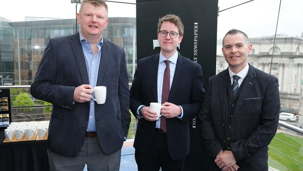 At the official launch of the Belfast Telegraph Top 100 Companies, in association with Arthur Cox, are: Graham McGuigan, GE Grid Solutions, David Black, Arthur Cox, and Paul Shields, Tobermore Concrete.