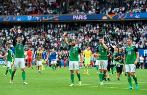 PARIS, FRANCE - JUNE 21: Northern Ireland players wave to the crowd after the UEFA EURO 2016 Group C match between Northern Ireland and Germany at Parc des Princes on June 21, 2016 in Paris, France. (Photo by Charles McQuillan/Getty Images)