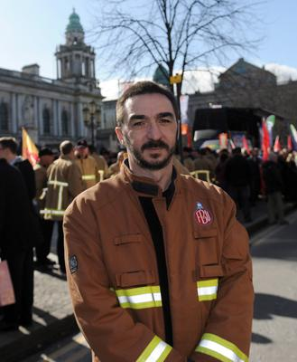 Public Service Rally - Belfast City Centre - 13th March 2015 Presseye Declan Roughan  VoxPop Belfast Telegraph  Jim Quinn Leader of the Fire Brigade Union