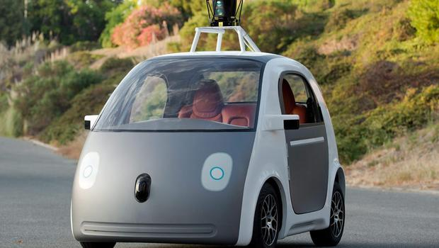 This image provided by Google shows an early version of Google's prototype self-driving car.