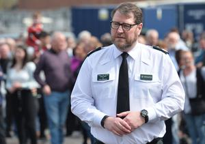 """PACEMAKER BELFAST  18/4/2019 Deputy Chief Constable Stephen Martin at the scene after 29-year-old Lyra McKee who was shot dead  during rioting after police searches in Derry's Creggan area on Thursday night. Assistant Chief Constable Mark Hamilton said the New IRA """"are likely to be the ones behind this"""" and detectives have started a murder inquiry. Photo Colm Lenaghan/ Pacemaker Press"""