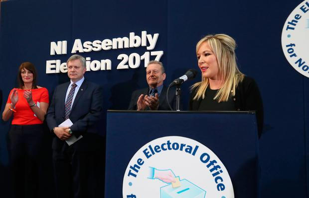 Sinn Fein Leader in the North Michelle O'Neill (right) speaking at the Seven Towers Leisure Centre in Ballymena.  Niall Carson/PA Wire