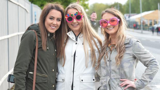 Pacemaker Press 09/05/2018 Ed Sheeran fans From L-R Alana Keenan, Megan Toner and Tara Gray   at Boucher Road in Belfast on Wednesday evening,   with  around  42,000 people expected at Boucher playing fields for the Ed  Sheeran Concert. Photo  Pacemaker Press