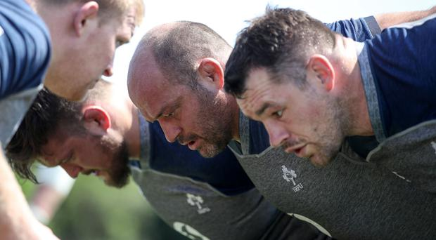 Big hitters: Ireland captain Rory Best, packing down in training yesterday, knows they'll need to up their performance levels to topple World Cup hosts Japan tomorrow