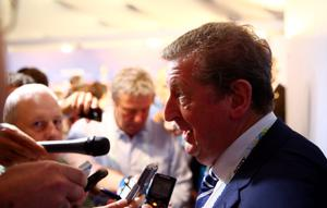 COSTA DO SAUIPE, BRAZIL - DECEMBER 06:  England manager Roy Hodgson speaks to members of the media after the Final Draw for the 2014 FIFA World Cup Brazil at Costa do Sauipe Resort on December 6, 2013 in Costa do Sauipe, Bahia, Brazil.  (Photo by Clive Mason/Getty Images)