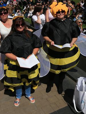 Women dressed in bee costumes watch the service in Cathedral Gardens (Peter Byrne/PA)