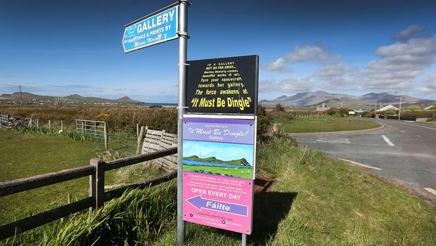 A local business sign close to the almost completed film set of an ancient Jedi Temple under construction at Ceann Sibeal in Kerry for the making of Star Wars Episode VIII.