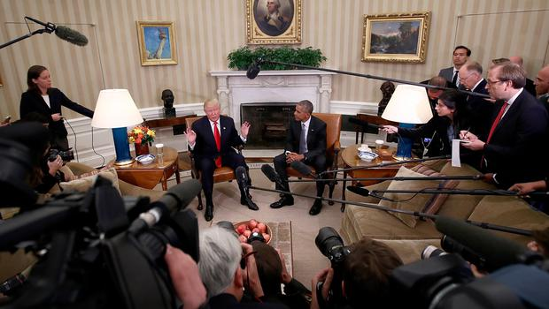 President-elect Donald Trump (L) talks after a meeting with U.S. President Barack Obama (R) in the Oval Office November 10, 2016 in Washington, DC. (Photo by Win McNamee/Getty Images)
