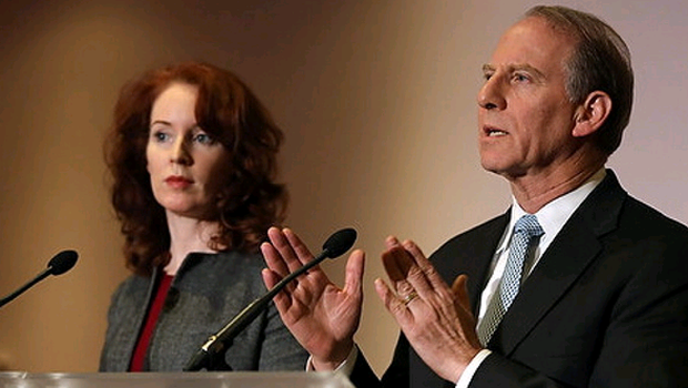 Former US diplomat Richard Haass and Vice-chair Dr Meghan O'Sullivan at a press conference at the Stormont Hotel as he attempts to reach an agreement with Northern Ireland's five main parties continue