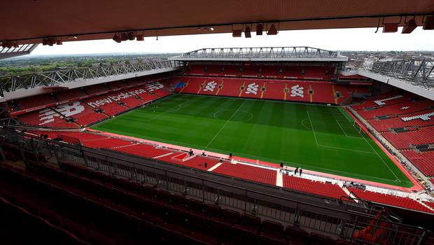 The pitch is pictured from Liverpool Football Club's new main stand, during a media tour at Anfield stadium in Liverpool, north-west England, on September 9, 2016. / AFP PHOTO / PAUL ELLISPAUL ELLIS/AFP/Getty Images
