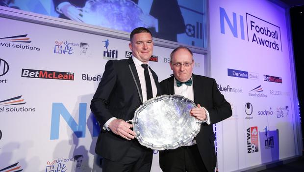 Press Eye - Belfast - Northern Ireland - 7th May 2018  -   NI Football Awards at the Crowne Plaza Hotel.  NON-SENIOR CLUB OF THE YEAR  Dundela secretary Jim Steed, left with Timothy Dubois   Photo by Kelvin Boyes / Press Eye
