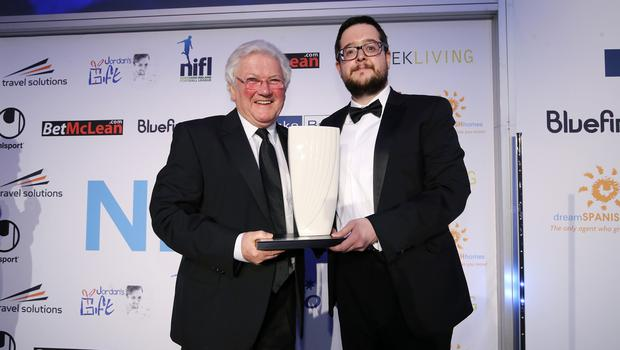 Press Eye - Belfast - Northern Ireland - 7th May 2018  -   NI Football Awards at the Crowne Plaza Hotel.  MERIT AWARD   Chairman Keith Bailie makes a presentation to Jackie Fullerton.  Photo by Kelvin Boyes / Press Eye