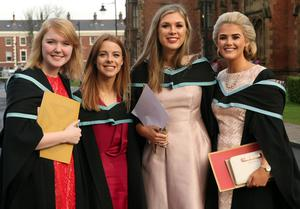 Mandatory Credit - Picture by Freddie Parkinson/Press Eye © Thursday 8th December 2016 Graduations take place at Queens University in Belfast. Amy Dickson from Lurgan, Lucy Crossan Belfast, Rachel Douglas Limavady and Emma Donnelly Desertmartin.