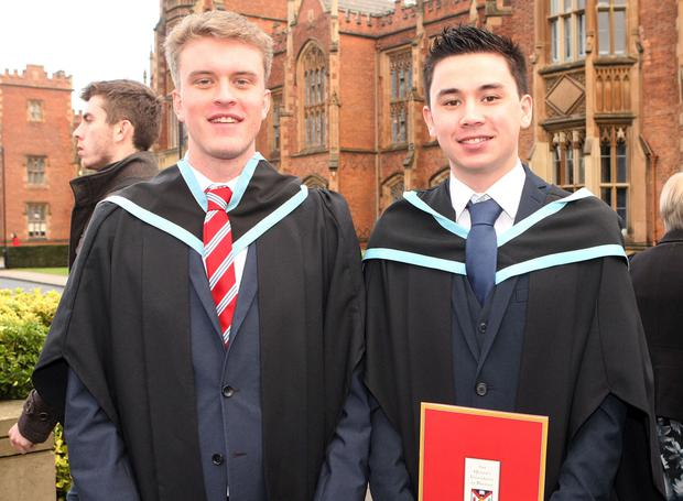 Mandatory Credit - Picture by Freddie Parkinson/Press Eye © Thursday 8th December 2016 Graduations take place at Queens University in Belfast. Jordan Shaw from Glengormley and Kevin Hung from Limavady