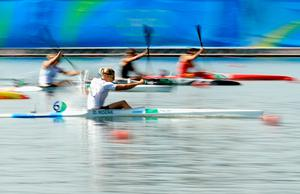 RIO DE JANEIRO, BRAZIL - AUGUST 18:  Danuta Kozak of Hungary competes during the Women's Kayak Single 500m Final at the Lagoa Stadium on Day 13 of the 2016 Rio Olympic Games on August 18, 2016 in Rio de Janeiro, Brazil.  (Photo by Mike Ehrmann/Getty Images) *** BESTPIX ***