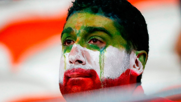 An Iran's fan reacts at the end of the Russia 2018 World Cup Group B football match between Iran and Portugal at the Mordovia Arena in Saransk on June 25, 2018.