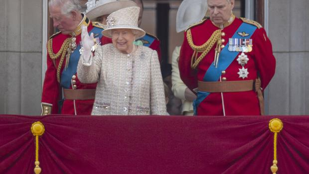 The Queen with the Prince of Wales and the Duke of York on the Buckingham Palace balcony (Victoria Jones/PA)