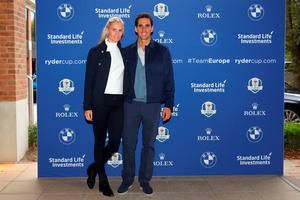 LONDON, ENGLAND - SEPTEMBER 26:  Rafa Cabrera Bello of Europe poses with his girlfriend Sofia Lundstedt as they depart the Hilton London Heathrow Airport Terminal 5 ahead of the 2016 Ryder Cup on September 26, 2016 in London, England.  (Photo by Warren Little/Getty Images)