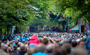 Picture -  Kevin Scott / Belfast Telegraph  Belfast - Northern Ireland - Monday 31st August 2015 - Van Morrison birthday concert  Pictured is crowds gathering for Van Morrison as he performs at his birthday concert in Cyprus Avenue, East Belfast  Picture - Kevin Scott / Belfast Telegraph