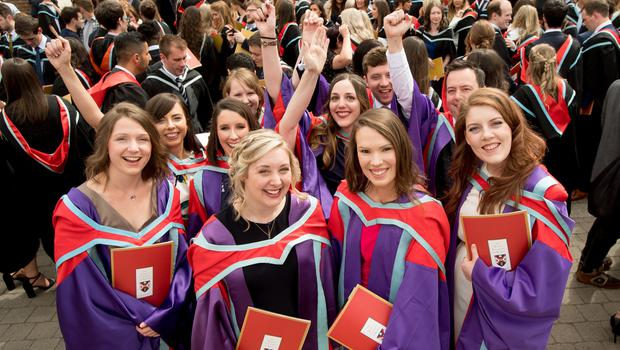 Pictured celebrating graduating with a PhD from the School of Medicine, Dentistry and Biomedical Sciences today at Queen's University Belfast are (L-R) Desiree Schliemann, Virginia Allen Walker, Nicola Gallagher and Felicity Lamrock.