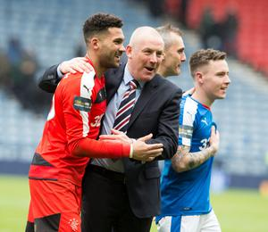 Rangers' goalkeeper Wes Foderingham and manager Mark Warburton celebrate after the William Hill Scottish Cup semi-final match at Hampden Park, Glasgow. PRESS ASSOCIATION Photo. Picture date: Sunday April 17, 2016. See PA story SOCCER Rangers. Photo credit should read: Jeff Holmes/PA Wire. EDITORIAL USE ONLY