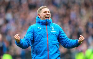 GLASGOW, SCOTLAND - APRIL 17:  Martyn Waghorn of Rangers celebrates after winning the penalty shoot out during the Scottish Cup Semi Final between Rangers and Celtic at Hampden Park on April 17, 2016 in Glasgow, Scotland. (Photo by Ian MacNicol/Getty IMages)