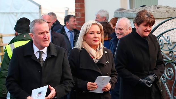 Finance Minister Conor Murphy, deputy First Minister Michelle O'Neill and First Minister Arlene Foster attend the funeral of Seamus Mallon. Pic: Liam McBurney/PA Wire