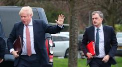 Prime Minister Boris Johnson and Secretary of State Julian Smith arrive at Stormont to meet the leaders of the restored powersharing government. Monday January 13, 2020.