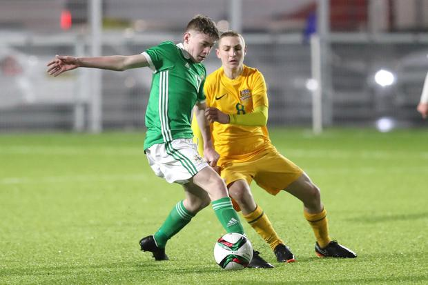 Conor Bradley in action for Northern Ireland U16s, who he captained to Victory Shield success in 2018.
