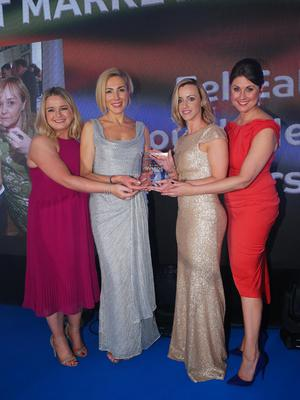 Press Eye - Belfast - Northern Ireland - 2nd February 2017 -    NI Year of Food & Drink Awards at the Culloden Hotel.  Award 7 Best Marketing Achievement  Sarah Travers, host of the NI Year of Food & Drink Awards is pictured with Aisling Graham from Moy Park presenting the Lough Neagh Partnership with the award for Best Marketing Achievement, for the Eel-Eat project. The inaugural awards celebrated the collaborative efforts of all from the food, drink and hospitality industry during the NI Year of Food & Drink 2016, with an gala awards evening at the Culloden Hotel. Pictured left to right: Aisling Graham from Moy Park, Cathy Chauhan, Emer Kearney and Sarah Travers.  Photo by Kelvin Boyes / Press Eye.