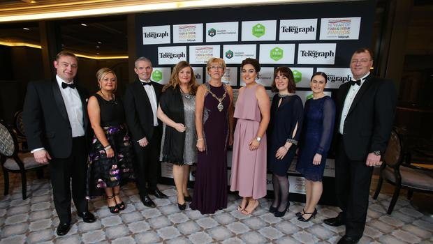 Press Eye - Belfast - Northern Ireland - 2nd February 2017 -    NI Year of Food & Drink Awards at the Culloden Hotel.  Hilary McClintock, Mayor of Derry City and Strabane District Council with guests at the NI Year of Food & Drink Awards at the Culloden Hotel.  Photo by Kelvin Boyes / Press Eye.