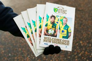 NORWICH, ENGLAND - JANUARY 23:  Matchday programmes are on sale prior to the Barclays Premier League match between Norwich City and Liverpool at Carrow Road on January 23, 2016 in Norwich, England.  (Photo by Stephen Pond/Getty Images)