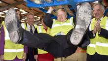 Mayor of London Boris Johnson is pictured at Wrightbus Antrim plant at the announcement of a further 200 Route Master Buses to the Transport of London order worth £62 Million. The £62 Million order was confirmed during a visit to the chassis plant in Antrim. Photo by Simon Graham/Harrison Photography.