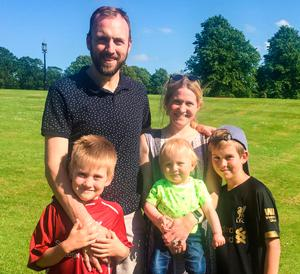 Battling on: Edel and Barry with children Eoghan, Cormac and Fionn
