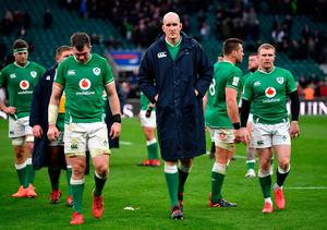 Ireland dejected following the 2020 Guinness Six Nations match between England and Ireland at Twickenham Stadium on February 23, 2020 in London, England. (Photo by Dan Mullan/Getty Images)