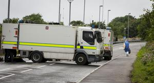 The scene during a security alert at Southway, Derry. Southway is an arterial route into the Creggan Estate in the city. The area was still sealed off at 4.30pm.